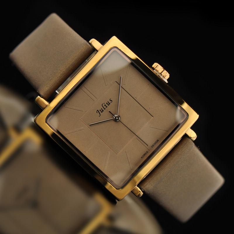 Юлий леди женщина наручные часы кварцевых часов лучший модное платье корея браслет марка кожа часы разноцветные площадь JA-354