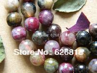 Wholesale  tourmaline natural stone 10mm slider round christmas beads european charms