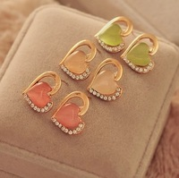 0375 Min. order $10 (mix order) Free shipping New arrival fashionable cute heart opal crystal stud earring for women
