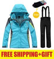 Brand women 2in1 winter waterproof windproof hiking camping outdoor jacket coat pants ski snow suit set outerwear snowboard
