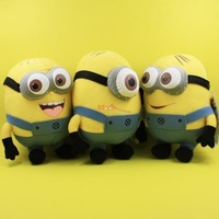 "FREE SHIPPING HANDMADE MINION DAVE JORGE STEWART 3D EYE 8.5"" NEW DESPICABLE ME PLUSH DOLL TOY 1LOT 3PCS"