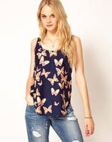 Hot Sale 2014 Women's Brand Style Designer Blouses Shirts Butterfly Print O-Neck Sleeveless Tank Tops Shirt Women