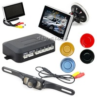 "DIY 4"" LCD Car Monitor Display Car Video Parking Radar 4 Sensor System +IR Rear View Backup Camera  Free Shipping"