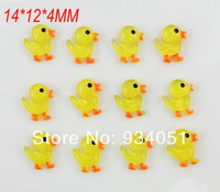 set of 120pcs  14mm  shiny glitter Yellow Duck Duckie Flatbacks Cabochons Gluable pendants Charm cell phone decor,DIY