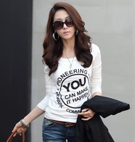 Free shipping 2013 new korean style women's basic shirt autumn plus size clothing  o-neck cotton t-shirt slim female long-sleeve
