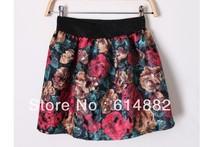 2013 Fashion Vintage Woolen Skirt Puff Skirt High Waist Print Short Skirt