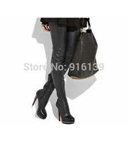 Fashion Women Leather Over-knee Boots Thigh High Heels Autumn Boots Plus Size Women Platform Winter Botas Femininas