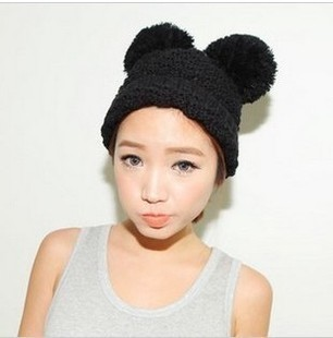 Hot Sale Drop Shipping Baggy Beanie Knit Crochet Hats Mickey Ears Acrylic Beanie Lovely Cap For Women Knitting HTZZM-064