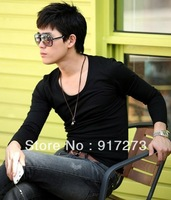 2013 New Base T Shirt Mens Long Sleeve Undershirt Slim Fit Round Neck 8 Colors Retail Drop Ship