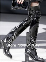 2013 New Design Women Fashion Sexy Bandage Over Knee Chain Boots Free Shipping