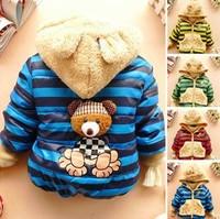 Free shipping 2014 new children winter outerwear boys warm striped bear hoodies fleece lining padded baby coat  retail CS056