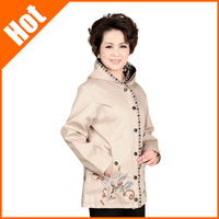 women 2013 autumn winter embroidered jacket with a hood outerwear middle-age women mother clothing plus size