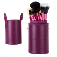 13 Pcs Makeup Brush Cosmetic Brushes Tool Set Kit with Cylindrical Cup Case Purple