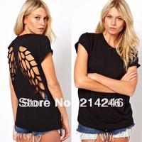 Back Hollow out T-shirt  , Laser T-shirt , fashion T-shirt  short sleeve  women's top Free shipping