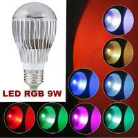 5 PCS/LOT 350LM RGB led lighting Colorful 9W B22 /E27/GU10 LED Bulb Lamp with Remote Control Free shipping