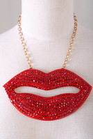 European favors crystal red lips necklace for women