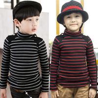 2014 baby boy's clothing boy's turtleneck t-shirt 100% cotton fahion boy's long sleeve tops free shipping