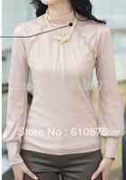 hot sale Women's turtleneck lace stitching cotton Slim T-shirts R93 DY 10F 10122#  18607693757