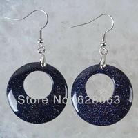 Blue Goldstone Beads Circle Dangle Earrings Jewelry Free Shipping T194