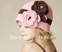 (Min order $15)Free Shipping-2013 Super Cute And Beautiful Hats For Children Two Big Flower Design Wool Winter Caps For Girls