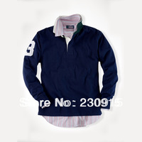 2013 New Wholesale Autumn Spring Men's Casual Plus Size Designer Polo Shirt Long Sleeve Cotton Shirt TOP Brand FREE SHIP