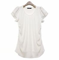 2014 New Summer Round Collar Short Sleeve Chiffon T-shirt Plus Size Tops Free Shipping TS-017