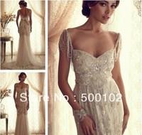 Glamorous Juliet Neckline Spaghetti Strap Tassel Beaded Wedding Dresses
