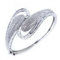 Fashion Elegant Top Quality AAA+ Cubic Zirconia Diamond Bangles For Women Gift Wholesale Free Shipping