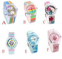 14 Styles Hello Kitty Ben 10 Batman Children Cartoon Rainbow Butterfly Flower Stripe Non-toxic Plastic Waterproof Wrist Watch