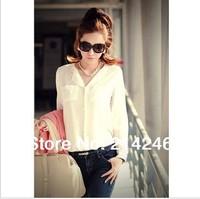 NEW 2014 fashion women blouse with pocket  long sleeve lady chiffon blouse free shipping