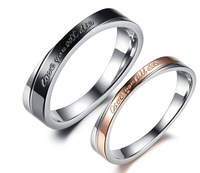 New Unique Design 316L Stainless Steel Lover Couples Distortion Style Promising Love Wedding Rings SZ#5-12