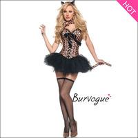 2014 Sexy leopard Costume Corset Bustier cat girl/leopard carnivals/halloween costume 6pcs/set S-XXL