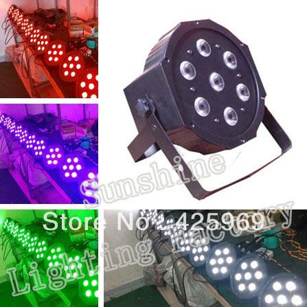 Free shipping! 7*10W RGBW 4 in 1 Led Flat Par Can Lighting, DMX512 Stage Light, Megar Par Profile(China (Mainland))