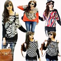 3xl 4xl 5xl Plus size New fashion 2014 autumn plaid flower leopard patterns print loose long sleeve t-shirts women blouse shirt