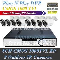 New 8 Channel CMOS 1000TVL Outdoor surveillance camera system kit Plug N Play HDMI 1080P DVR + 8 weatherproof IR Camera