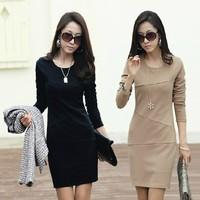 2014 Autumn Winter Women Dress New Fashion Ladies Casual Long Sleeve Office Work Wear Plus Size XXXL 4XL 5XL Elegant Party Dress
