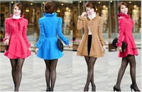 Wholesale Hot Women Clothing Autumn winter Stylish Womens Winter Warm Trench Coat Slim Long Jacket Asymetric Hem Overcoat