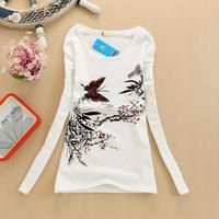 Free shipping Women Bottoming shirt 2014 new arrive Women 's Letter Printed Cartoon long sleeve t - shirt size Wear shirt Tops