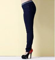 New autumn plus size trousers for women elastic mid waist jeans female skinny pants plus size pants pencil denim jeans 359