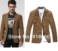 New sale XXL Men' Leisure suit jackets/fashion man suit Blazers/size L~XXL PU leather shoulder design 3 colors good quality