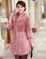 2013 Winter New Women Female Genuine Natural Rex Rabbit Fur Hair Fox Fur Collar Long Slim Design Coat Parka Outwear Jacket