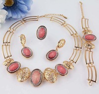 New 18k Gold Filled Pink Sapphire Necklace Bracelet Earring Ring Jewelry Jewelry Set