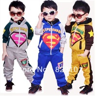 Free shipping-2013 new arrive spring/autumn children's sets,boys Superman sportswear kids suit / children clothing / boys sets