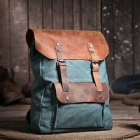 2013 New 100% genuine Leather vintage fashion preppy cowhide backpack rucksack canvas the knapsack unisex bag  Free Shipping