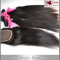 6A Queen hair  Peruvian virgin straight hair 1 pcs Lace top closure with 3pcs Hair Bundle extension 4pcs/lot DHL free shipping