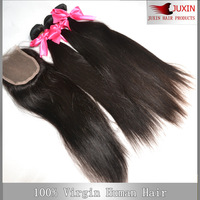 5A Peruvian virgin straight  hair 1pcs Lace top closure with 3pcs Hair Bundle extension 4pcs/lot DHL free shipping