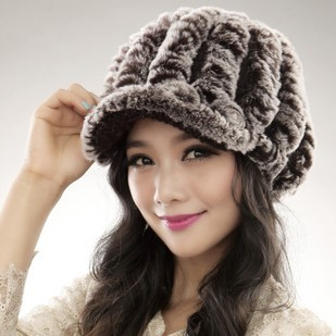 2013 new Factory Price rex rabbit hat Genuine Women's Winter Rex rabbit Fur cap(China (Mainland))