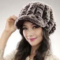 2013 new Factory Price rex rabbit hat Genuine Women's Winter Rex rabbit Fur cap