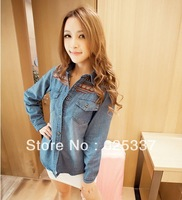 2014 Hot Sale Ladies Fashion Jean Short Coat Classical Ethnic Style Print Denim Shirts Long-sleeve Clothing Drop Shipping