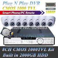 2000GB HDD built-in 8 Channel CMOS 1000TVL indoor CCTV dvr security system Plug N Play HDMI 1080P DVR + 8 IR Dome Camera